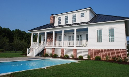 JMB HOMES Tilghman Island Custom Home pool view