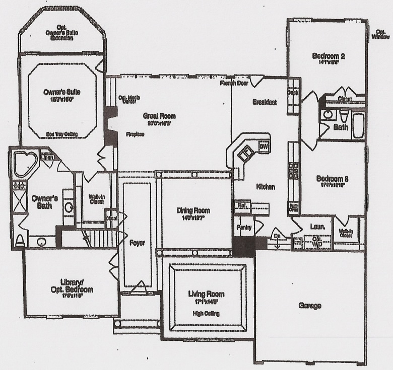 The Monticello by JMB HOMES first floor plans
