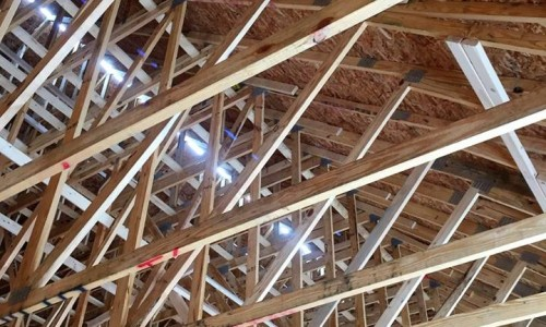 Worthington Valley, custom home, construction rafters